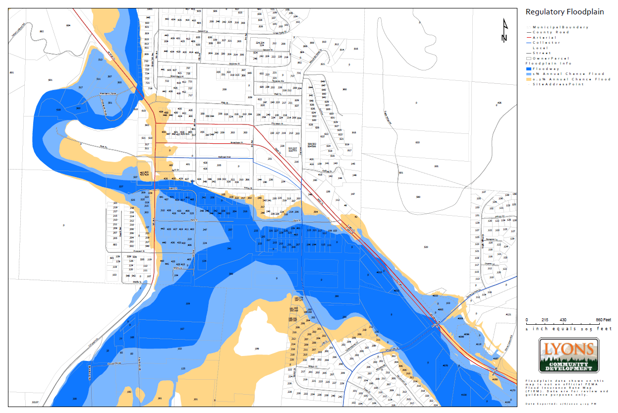 Town of Lyons Regulatory Flood Map 4 - Close
